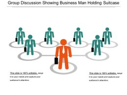 Group Discussion Showing Business Man Holding Suitcase