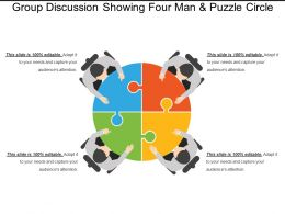 Group Discussion Showing Four Man And Puzzle Circle