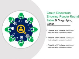 Group Discussion Showing People Round Table And Magnifying Glass