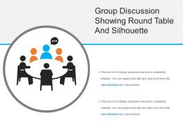 Group Discussion Showing Round Table And Silhouette