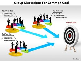 group_discussions_for_common_goal_shown_by_bullseye_powerpoint_diagram_templates_graphics_712_Slide01