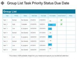 Group List Task Priority Status Due Date