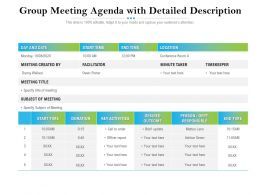 Group Meeting Agenda With Detailed Description