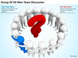 Group Of 3D Men Team Discussion Ppt Graphics Icons PowerPoint