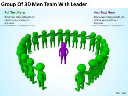 Group Of 3D Men Team With Leader Ppt Graphics Icons Powerpoint