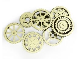 Group Of Gears Working Together Stock Photo