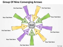 group of nine coverging arrows Circular Layout Process PowerPoint Slides