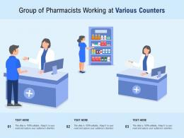 Group Of Pharmacists Working At Various Counters