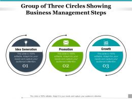 Group Of Three Circles Showing Business Management Steps