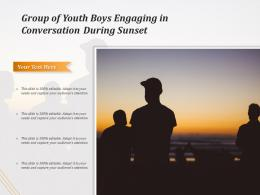 Group Of Youth Boys Engaging In Conversation During Sunset