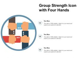 Group Strength Icon With Four Hands