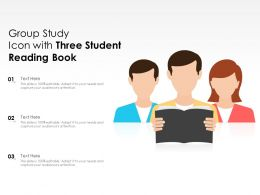 Group Study Icon With Three Student Reading Book
