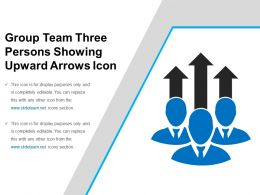 Group Team Three Persons Showing Upward Arrows Icon
