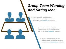 Group Team Working And Sitting Icon