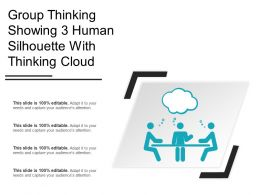 Group Thinking Showing 3 Human Silhouette With Thinking Cloud