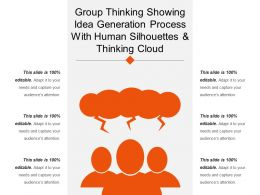 Group Thinking Showing Idea Generation Process With Human Silhouettes And Thinking Cloud