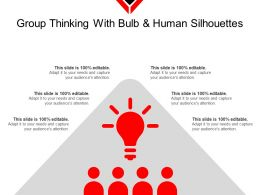 Group Thinking With Bulb And Human Silhouettes