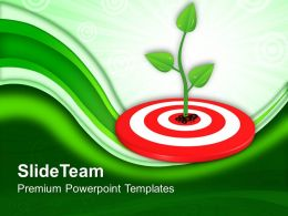 Growing Green Plant On Target Powerpoint Templates PPT Themes And Graphics 0113