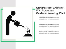 Growing Plant Creativity With Sprout And Gardener Watering Plant