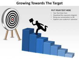 growing towards the target man climbing stairs to bulls eye ppt slides diagrams templates powerpoint info graphics