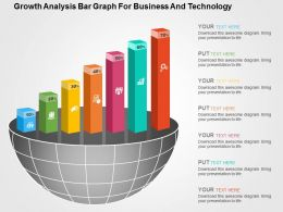 Growth Analysis Bar Graph For Business And Technology Flat Powerpoint Design