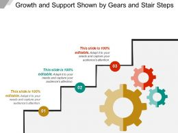 Growth And Support Shown By Gears And Stair Steps