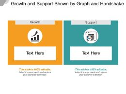 Growth And Support Shown By Graph And Handshake