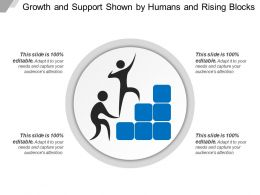 Growth And Support Shown By Humans And Rising Blocks