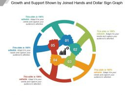 Growth And Support Shown By Joined Hands And Dollar Sign Graph