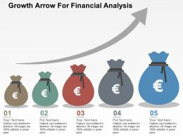 Growth Arrow For Financial Analysis Flat Powerpoint Design