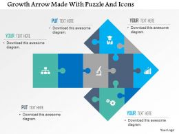 Growth Arrow Made With Puzzle And Icons Flat Powerpoint Design Flat Powerpoint Design