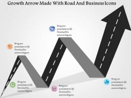 Growth Arrow Made With Road And Business Icons Flat Powerpoint Design