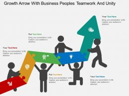 Growth Arrow With Business Peoples Teamwork And Unity Flat Powerpoint Design