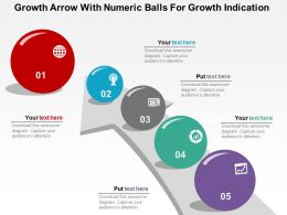 Growth Arrow With Numeric Balls For Growth Indication Flat Powerpoint Design