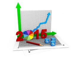 Growth Arrow With Pie Chart For 2015 Stock Photo