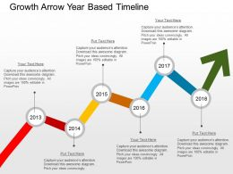 Growth Arrow Year Based Timeline Flat Powerpoint Design