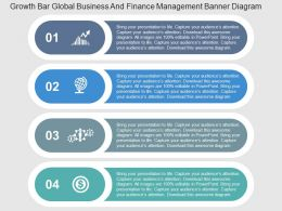 Growth Bar Global Business And Finance Management Banner Flat Powerpoint Design