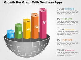 Growth Bar Graph With Business Apps Flat Powerpoint Design
