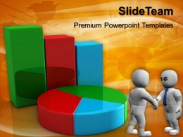 Growth bar graphs for and pie chart finance ppt template Powerpoint