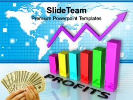 Growth bar graphs powerpoint templates profits marketing ppt process