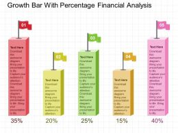 Growth Bar With Percentage Financial Analysis Flat Powerpoint Design
