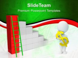 Growth business bar graphs powerpoint templates ladder to finance ppt slides