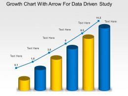 Growth Chart With Arrow For Data Driven Study Powerpoint Slides