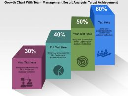Growth Chart With Team Management Result Analysis Target Achievement Flat Powerpoint Design