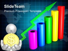 Growth creative bar graphs powerpoint templates dollar success finance ppt slide