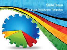 Growth creative bar graphs powerpoint templates gear pie chart business ppt slides