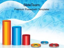 Growth creative bar graphs powerpoint templates gears with business success ppt slides