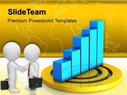 Growth creative bar graphs templates global business handshake leadership ppt slide Powerpoint