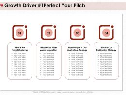 Growth Driver Perfect Your Pitch Our Unique Ppt Powerpoint Presentation Show Template
