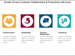 Growth Drivers Customer Relationships And Productivity With Icons